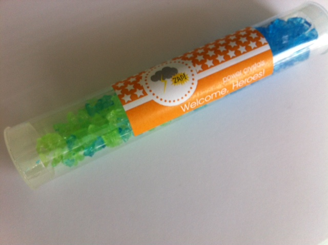 mod kid's birthday candy tubes